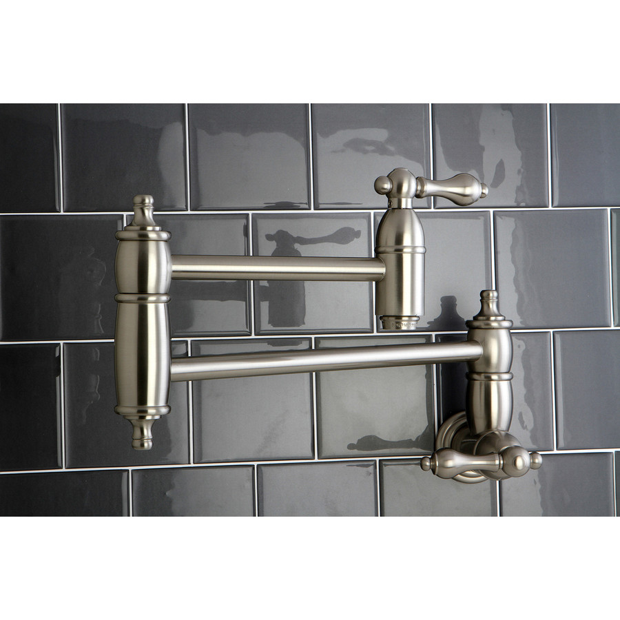 ... Nickel 2-Handle Pot Filler Wall Mount Kitchen Faucet at Lowes.com