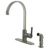 Kingston Brass Continental 1-Handle High-Arc Kitchen Faucet with Side Spray