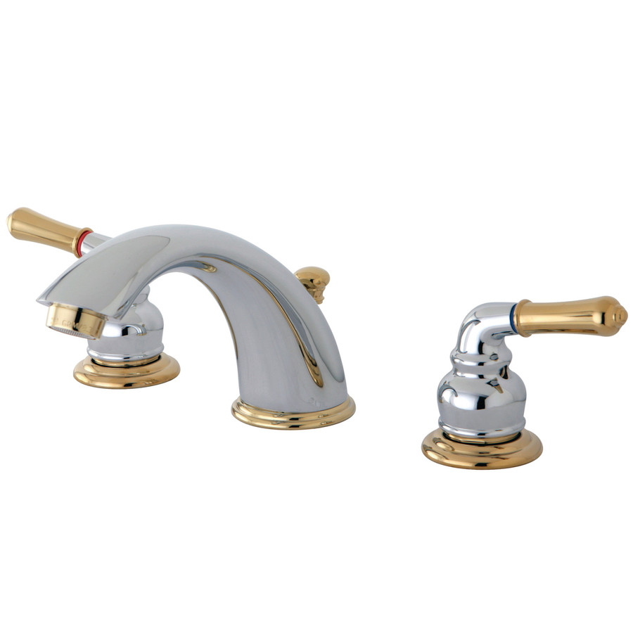 shop kingston brass magellan chrome polished brass 2 handle widespread bathroom sink faucet