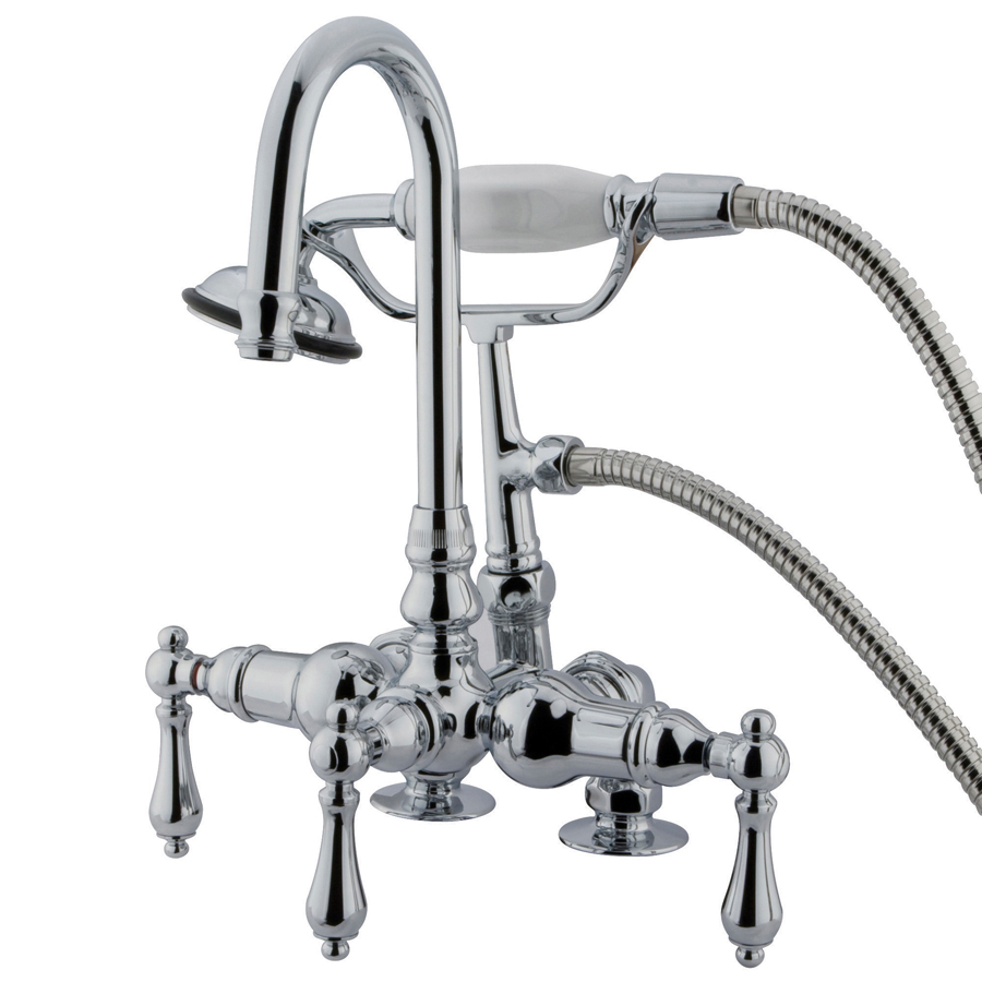 Shop Kingston Brass Vintage Chrome 3 Handle Fixed Clawfoot Tub Faucet At