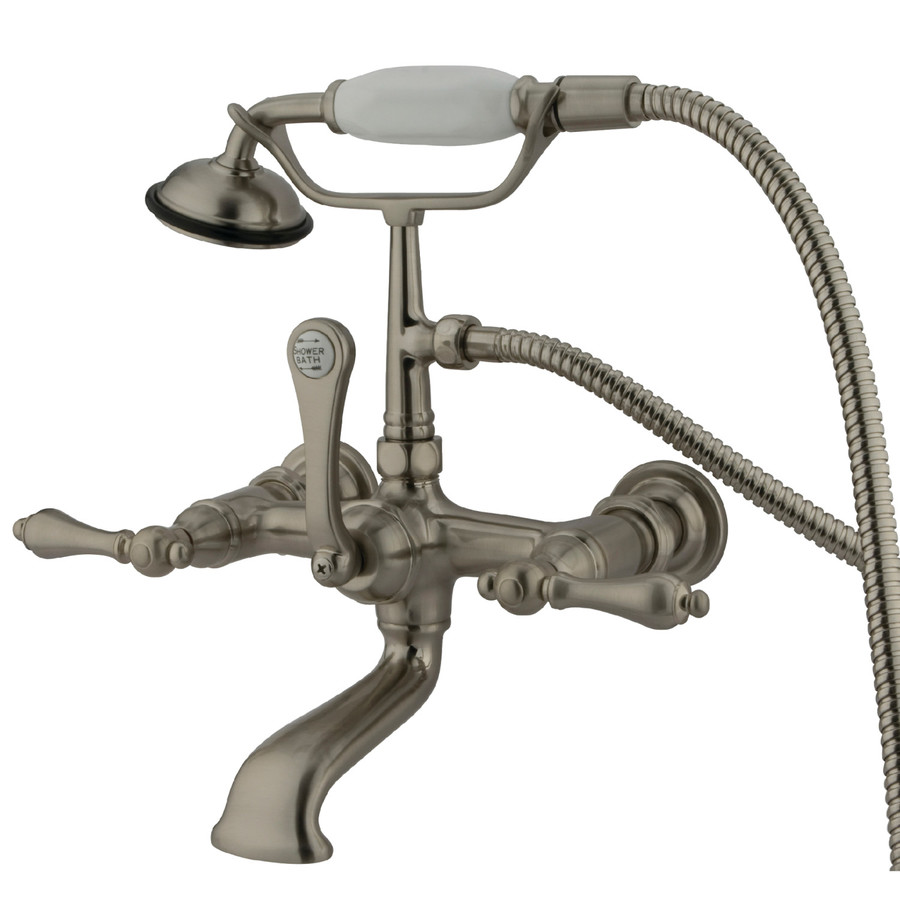 Shop Kingston Brass Vintage Satin Nickel 3 Handle Fixed Clawfoot Tub Faucet A