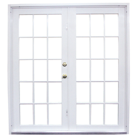 West Palm 72-in Clear Glass White Aluminum French Outswing Patio Door