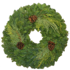 """22"""" Fresh-Cut Noble Fir Wreath with Pinecones"""
