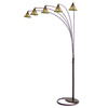 Nova Lighting 87-in 5-Light Bronze Floor Lamp with Tiffany-Style Shade