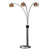 Nova Lighting 82-in Dark Brown Wood and Brushed Nickel Indoor Floor Lamp with Paper Shade