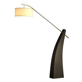 Nova Lighting 88-in Pecan Wood and Brushed Nickel Indoor Floor Lamp with Fabric Shade