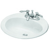 Briggs Homer White Enameled Steel Drop-In Round Bathroom Sink with Overflow