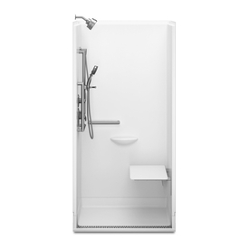 Delta Bright White Acrylic One-Piece Shower with Integrated Seat (Actual: 78.75-in x 39-in x 39-in)