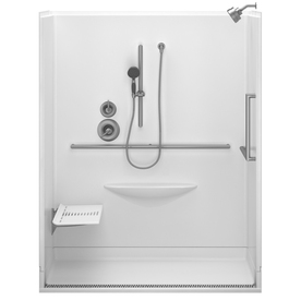 Delta Bright White Acrylic One-Piece Shower with Integrated Seat (Actual: 78.75-in x 39-in x 63-in)