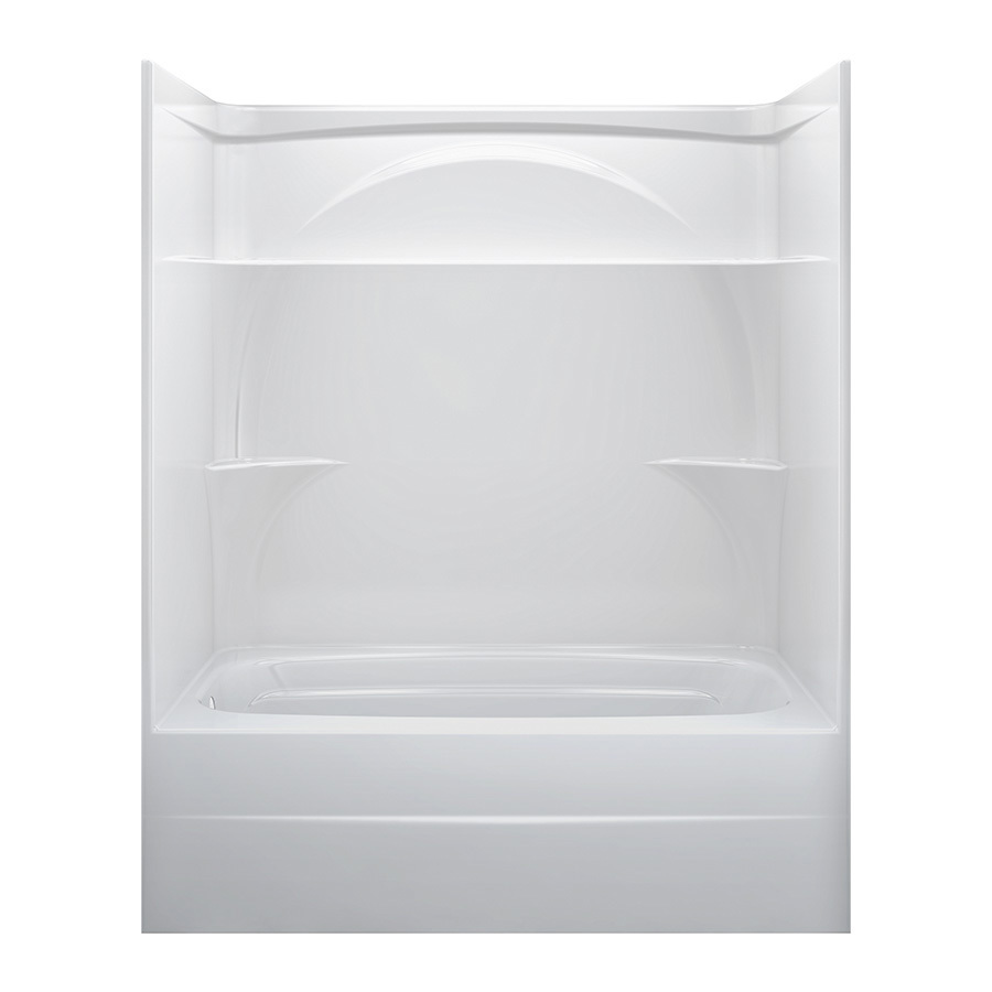 shop delta white acrylic one piece shower with bathtub