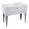 Mustee 40-in x 24-in 2-Basin White Freestanding Composite Tub Utility Sink with Drain