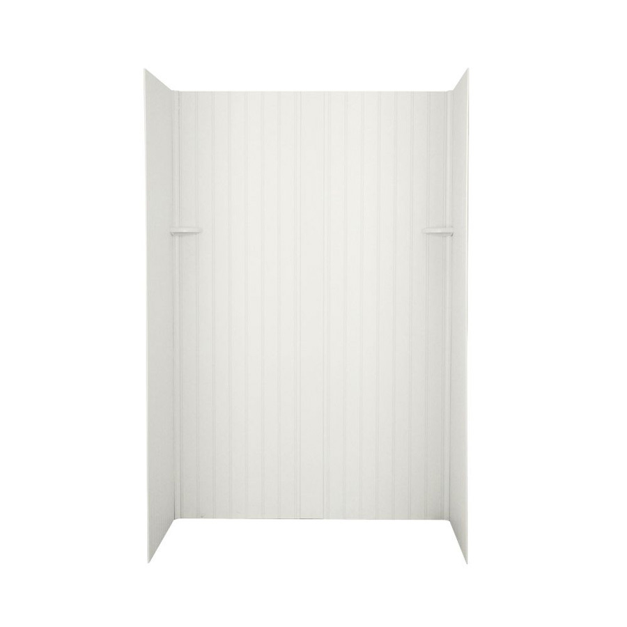 shop swanstone bisque solid surface shower wall surround side and back panels common 32 in x. Black Bedroom Furniture Sets. Home Design Ideas