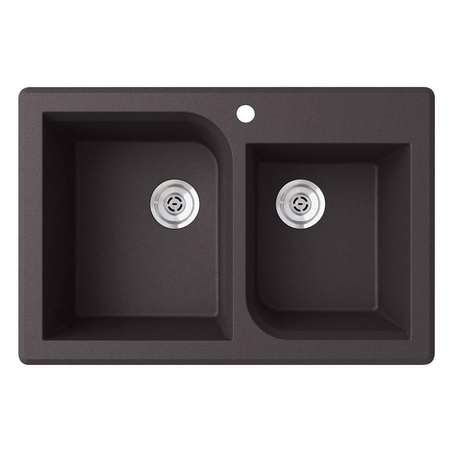 Shop swan nero double basin drop in or undermount kitchen - Undermount granite kitchen sinks ...