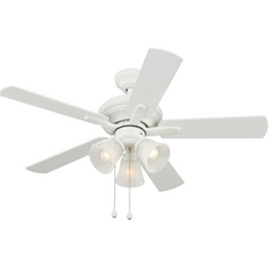Harbor Breeze 42-in White Downrod Mount Indoor Ceiling Fan with Light Kit