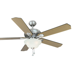Harbor Breeze Crosswinds 52-in Brushed Nickel Downrod Mount Indoor Ceiling Fan with Light Kit and Remote