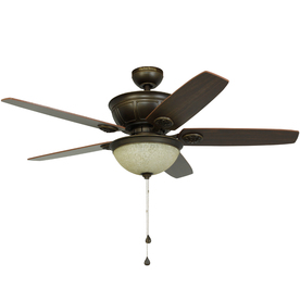 Harbor Breeze Newhaven 48-in Light Oil Rubbed Bronze Downrod Mount Indoor Ceiling Fan with Light Kit