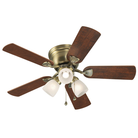 Harbor Breeze Centreville 42-in Antique Brass Flush Mount Ceiling Fan with Light Kit