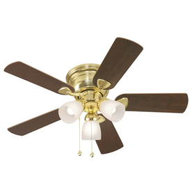 Harbor Breeze Centreville 42-in Polished Brass Flush Mount Indoor Ceiling Fan with Light Kit
