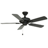 Harbor Breeze Classic 42-in Matte Black Downrod or Flush Mount Indoor/Outdoor Ceiling Fan