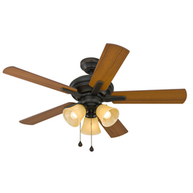 Harbor Breeze Lansing 42-in Aged Bronze Downrod or Flush Mount Indoor Ceiling Fan with Light Kit