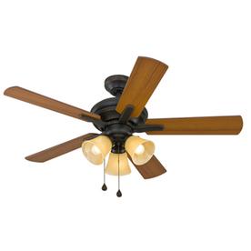 Harbor Breeze Lansing 42-in Aged Bronze Downrod or Flush Mount Ceiling Fan with Light Kit