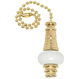 Harbor Breeze 7-in White and Brass Steel Pull Chain
