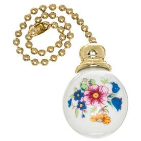 Harbor Breeze 7-in Floral and White Ceramic Pull Chain