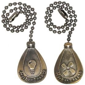 Harbor Breeze 2-Pack 7-in Antique Brass Zinc Pull Chain