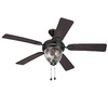 Harbor Breeze 52-in Bronze Downrod or Close Mount Indoor/Outdoor Ceiling Fan with Light Kit