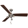 Harbor Breeze 48-in Brushed Nickel Downrod or Close Mount Indoor Ceiling Fan with Light Kit (3-Blade)