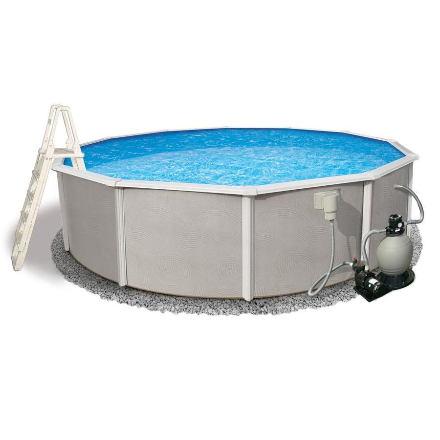 Shop blue wave belize 24 ft x 24 ft x 52 in round above for Above ground pools