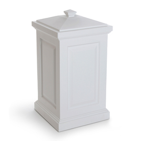 Mayne Berkshire 45-Gallon White Plastic Outdoor Trash Can with Lid