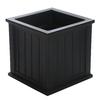 Mayne 20-in x 20-in Black Plastic Self Watering Square Planter