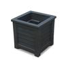Mayne 16-in x 16-in Black Plastic Self Watering Square Planter