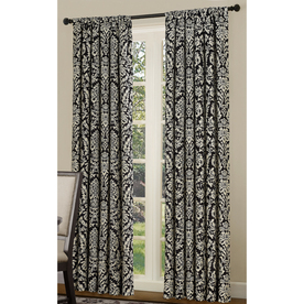 allen + roth Bristol 84-in Black/White Polyester Rod Pocket Room Darkening Single Curtain Panel