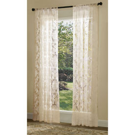 allen + roth Bristol Sheer Curtain 84-in L Solid Ivory Rod Pocket Sheer Curtain