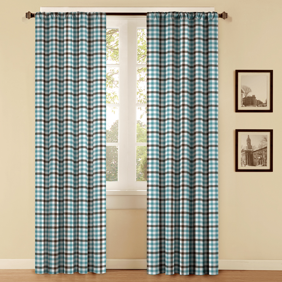 Shop Style Selections Style Selections 84 In L Plaid Chocolate Blue Thermal Rod Pocket Curtain