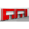NewAge Products Performance 234-in W x 77.25-in H Matte Red Doors and a Matte Silver Frame Steel Garage Storage System