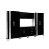 NewAge Products Performance Plus 128-in W x 85.25-in H High-Gloss Black Doors and a High-Gloss Silver Frame Steel Garage Storage System