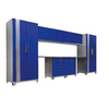 NewAge Products Performance Plus 184-in W x 85.25-in H High-Gloss Blue Doors and a High-Gloss Silver Frame Steel Garage Storage System