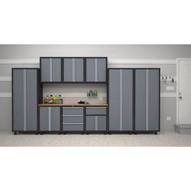 NewAge Products Bold 168-in W x 72-in H Grey/Black Steel Garage Storage System