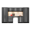 NewAge Products Bold 3.0 132-in W x 77.25-in H Jet Black Frames with Charcoal Gray Doors Steel Garage Storage System