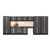 NewAge Products Bold 3.0 186-in W x 77.25-in H Jet Black Frames with Charcoal Gray Doors Steel Garage Storage System