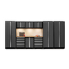 NewAge Products Bold 3.0 162-in W x 77.25-in H Jet Black Frames with Charcoal Gray Doors Steel Garage Storage System