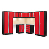 NewAge Products Bold 3.0 99-in W x 77.25-in H Jet Black Frames with Deep Red Doors Steel Garage Storage System