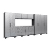 NewAge Products Performance Diamond Plate 162-in W x 77.25-in H Silver Diamond Plate Doors and A Grey Frame Steel Garage Storage System