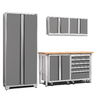 NewAge Products Pro 3.0 102-in W x 85.25-in H Bright White Frames with Platinum Gray Doors Steel Garage Storage System