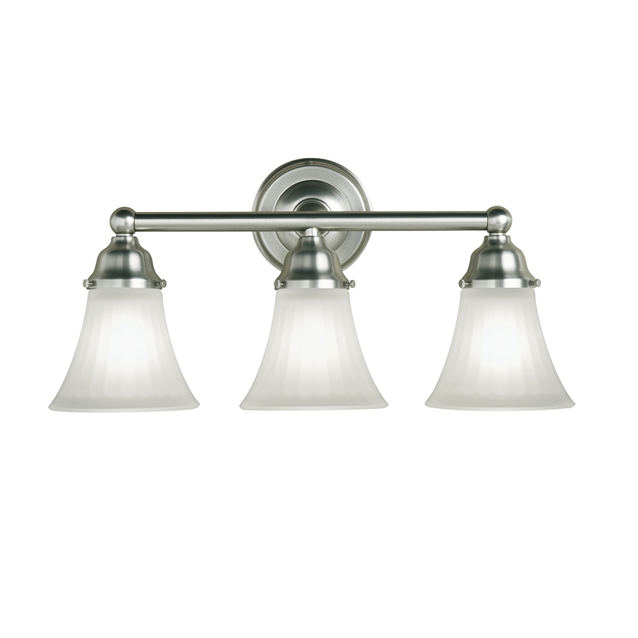 Shop portfolio 3 light vassar brushed nickel bathroom for Bathroom light fixtures lowes