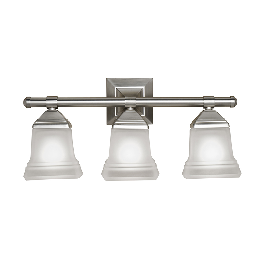 Shop portfolio 3 light trent brushed nickel bathroom for Bathroom light fixtures lowes