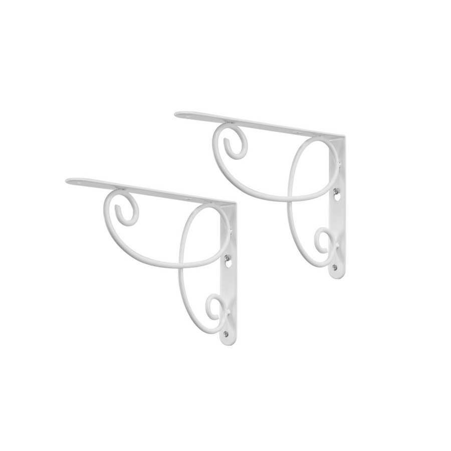 steel 9 in x 6 1 2 in white decorative shelf bracket at